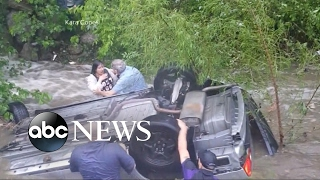A dramatic rescue after a car goes into a creek in Oklahoma