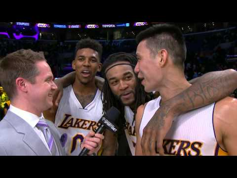 Jordan Hill and Nick Young Crash Jeremy Lin's Interview