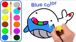 Las páginas para colorear de ballenas para niños l Las páginas para colorear y aprender los colores