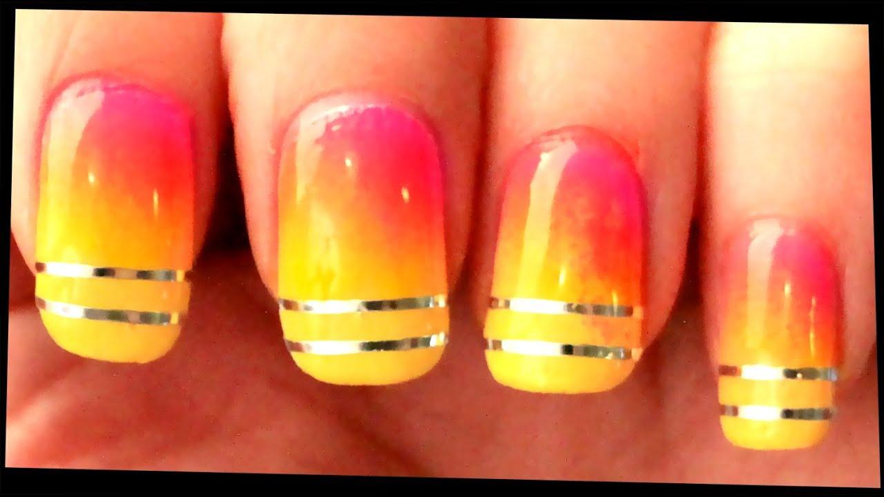 Neon Gradient & Silver Stripes nail art - YouTube