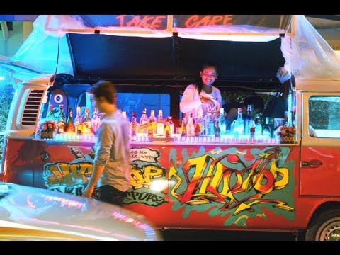 Bangkok Nightlife - Mobile Bar in a VW Bus - YouTube