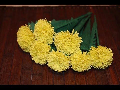 Одуванчики из гофрированной бумаги