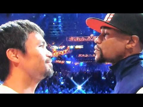 MAYWEATHER VS PACQUIAO LIVE WEIGH IN RESULTS 5/1/15! MANNY TELLS FLOYD THANK YOU IN FACE OFF!
