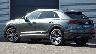 Audi NEW Q8 2018 S Line Pro 50 TDi  Quattro Daytona Grey walk around & detail inside