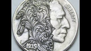 Buffalo Nickel Hand Engraved Scrollhead
