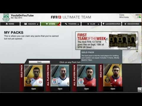 FIFA 13 Ultimate Team Web App FIRST PACKS!!