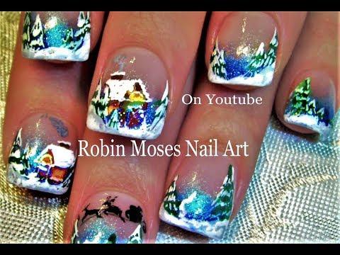 Nail Art Tutorial   DIY Nail Art Designs   Christmas Winter Wonderland Holiday Nails!!!