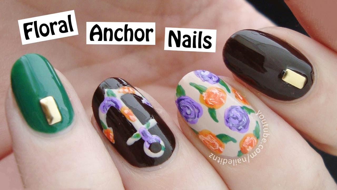 Floral Anchor Nails Floral Anchor Nail Art | Easy