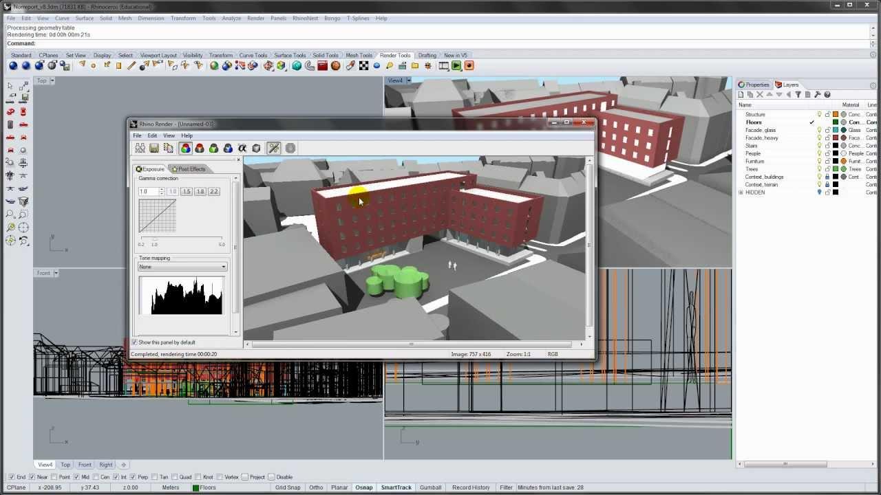 Basic rendering in rhino 5 youtube for Basic cad online