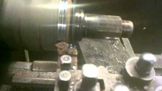 Turning a large drive shaft on a lathe