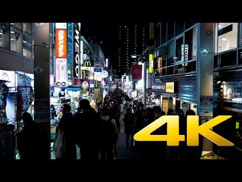 Walking around Harajuku Takeshita Street by Night -Tokyo - 竹下通り - 4K Ultra HD 🏪 🗼
