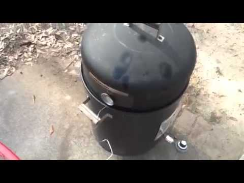 Charcoal smoker converted to gas.