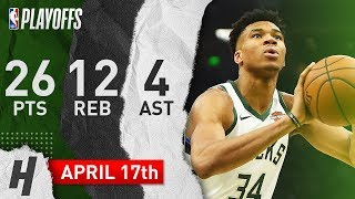 Giannis Antetokounmpo Game 2 Highlights Bucks vs Pistons 2019 NBA Playoffs - 26 Pts, 12 Reb, 4 Ast!