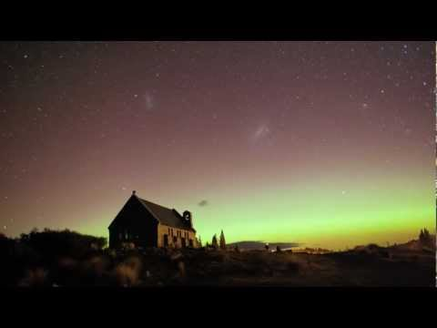 Aurora Australis and the Church of the Good Shepherd, Tekapo, New Zealand - 15 July 2012