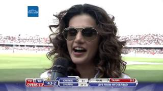 Taapsee Pannu at Match Centre- CCL6 Finals || Telugu Warriors VS Karnataka Buldozers