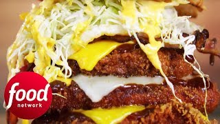 Casey Takes On A 17 Layer Katsu Burger! | Man v Food