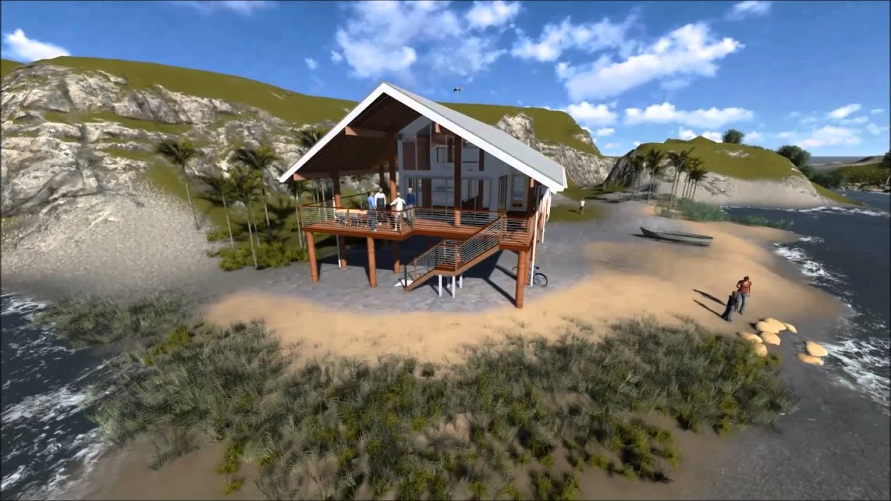 Beach house north queensland 3d flyover youtube for Beach house designs queensland