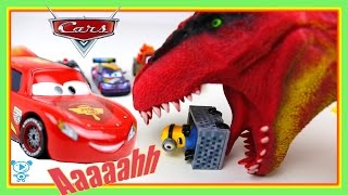 Lightning McQueen Cars - McQueen rescues minions from dinosaur - Toys Cars Cartoon Video for kids