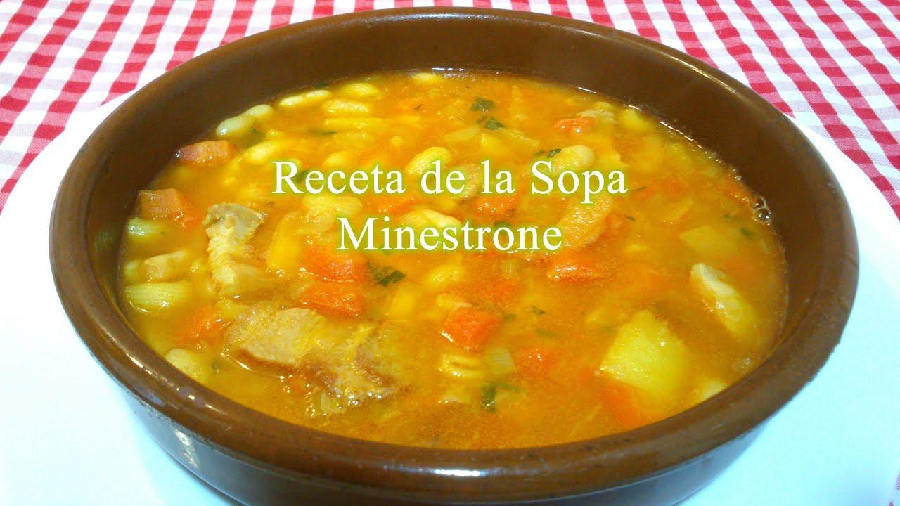 Receta fácil de sopa minestrone - YouTube