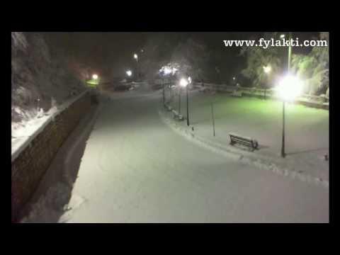 Χιονόπτωση Φυλακτή Καρδίτσας Live Camera 4/2/14 - fylakti.com