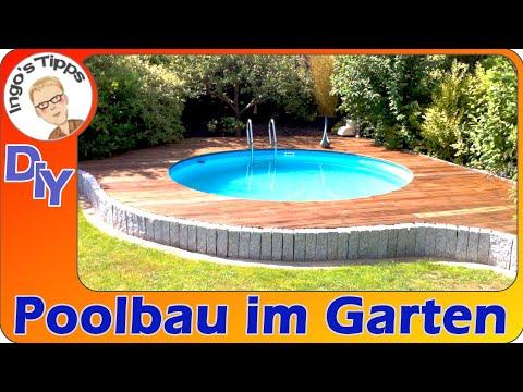 Pool bauen Stahlwandpool selber einlassen DIY was ist zu beachten?    IngosTipps