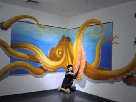 Pinturas en 3d youtube for Pintura dorada para pared