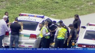 Bank Robbery Suspect Caught Following Police Pursuit, Rollover Wreck On I-595