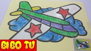 Sand Picture Art For Children - Colored Plane Sand Painting For Kids - Bé Tô Tranh Cát Chiếc Máy Bay