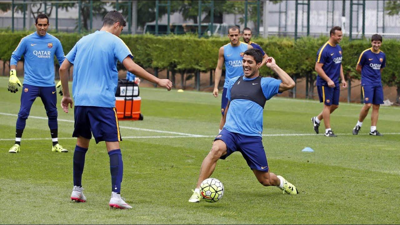 Luis Enrique back at training