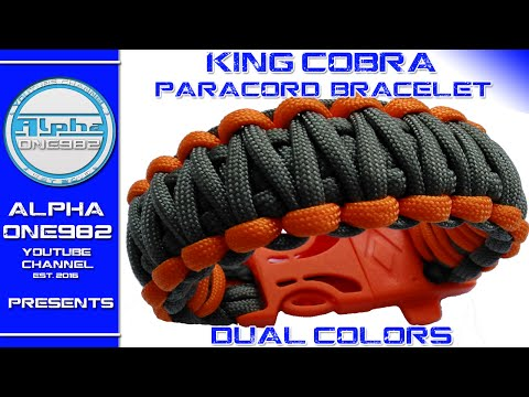 Paracord bracelet King Cobra with buckles dual color   2016