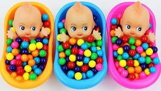 Learn Colors Bubble Gumballs Baby Doll Bath Time Nursery Rhymes Baby Finger Family Song For Children