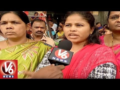 Gandhi Hospital Out Sourcing & 4th Class Employees Protest Against Management | V6 News