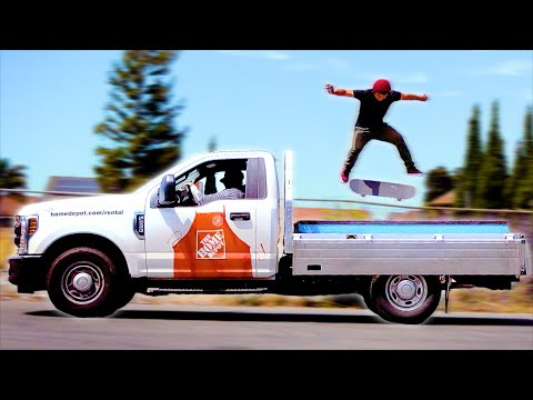 SKATING A MOVING TRUCK IN EXTREMELY SLOW MOTION!