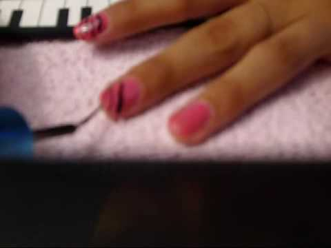 pink and black zebra nails desing by Gaby