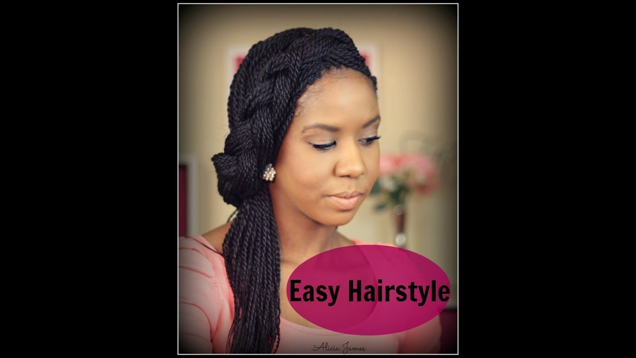 Easy Hairstyle Spring - Half Updo With Braid - Senegalese