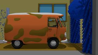 Orange Cucumber and Black Pickup | Car Wash For Kids | Pomarańczowe Auto Bajka Myjnia