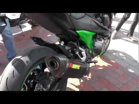 2013 Kawasaki Z800 Akrapovic Exhaust Sound Check walk around Test