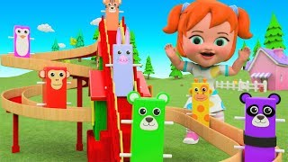 Little Baby Girl Fun Play Learning Colors for Children with Animals Wooden Toys Climb ToySet 3D Kids