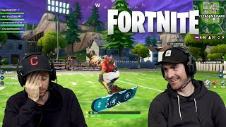 SKATERS IN FORTNITE RIDING HOVERBOARDS | 2dudes1game