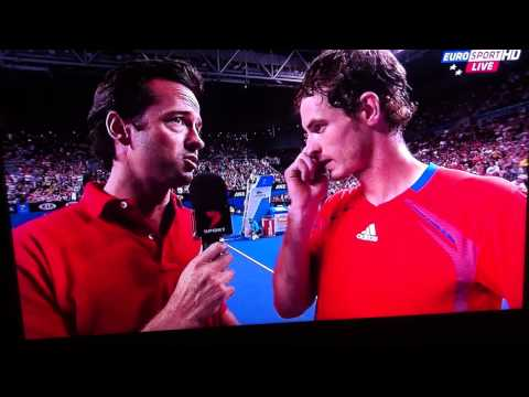 Andy Murray's best post match interview -  vs Llodra Australian Open 2012