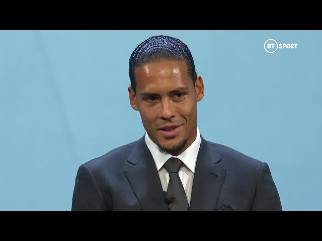 Virgil van Dijk accepts the UEFA Men39s Player of the Season award for 201819