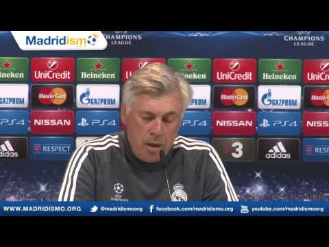James Rodriguez & Ancelotti Champions League English Press Conference