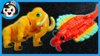 [A dda dda Toys] Dino mecard battle  Anomalocaris  mammoth dinosaur(for kids)