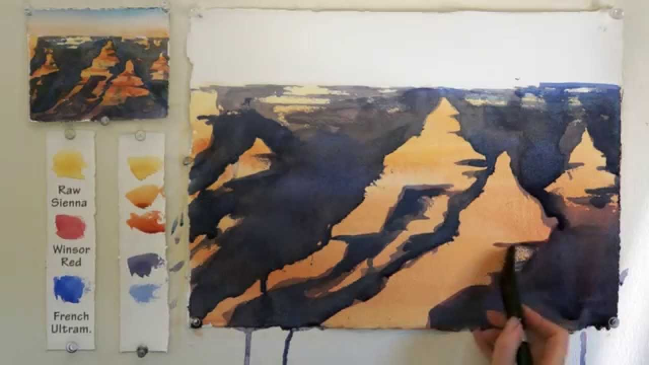 Easy step by step watercolor tutorial the grand canyon for Watercolor tutorials step by step