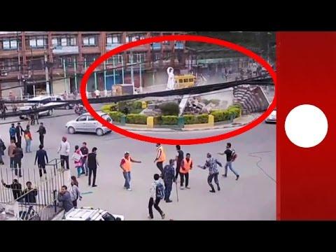 Incredible CCTV: Moment 7.9 magnitude earthquake hits Nepal