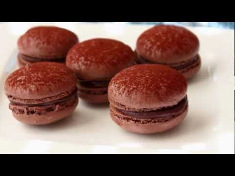 Dark Chocolate Macarons - French Macaron Recipe - Meringue Cookies