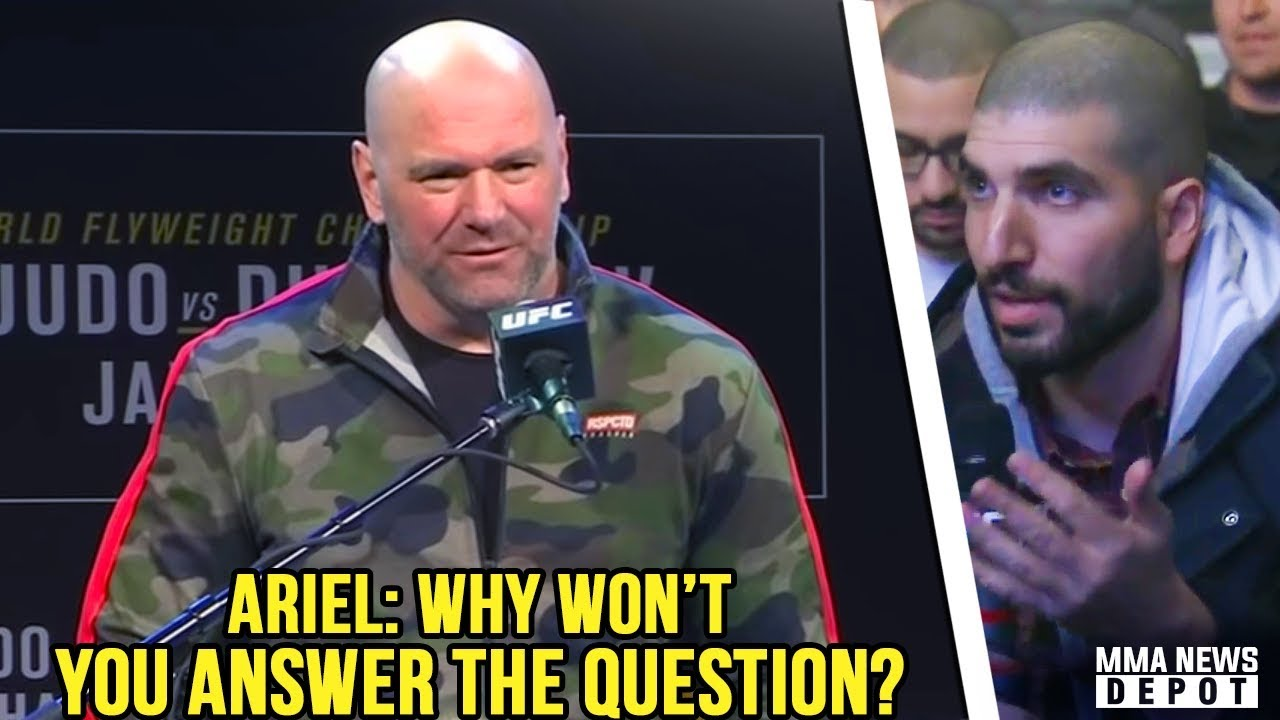 Dana White refuses to answer Ariel's question; Cejudo brings out snake during face off; TJ on Max