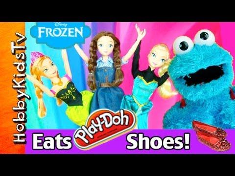 Cookie Monster EATS Princess PLAY-DOH Shoes! Anna. Elsa. Disney. Barbie. Dorothy Ruby HobbyKidsTV