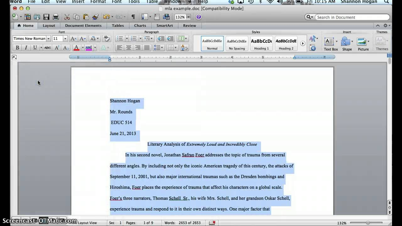 mla format word document
