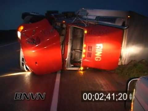7/08/2004 Storm Damage Video, Semi truck blown over in storm